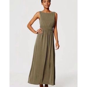 LOFT Olive Green Ruched Maxi Dress